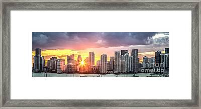 Miami Sunset Panoramic Framed Print
