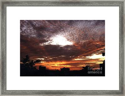 Miami Sunset Framed Print by Steven Valkenberg