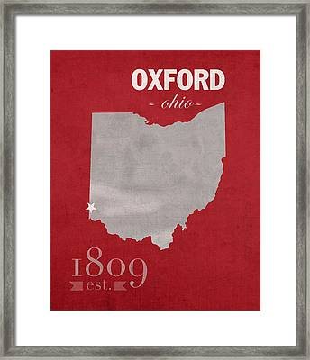 Miami University Of Ohio Redhawks Oxford College Town State Map Poster Series No 064 Framed Print