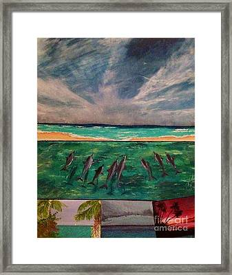 Framed Print featuring the painting Delfin by Vanessa Palomino