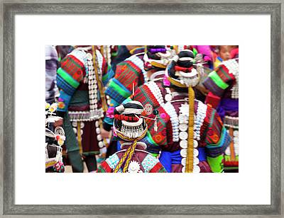 Miao Girls Dancing At Festival Framed Print by Peter Adams