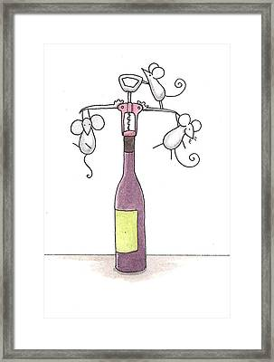Mice With Wine Framed Print