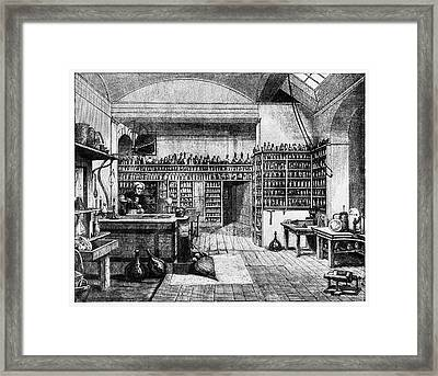 Michael Faraday In His Lab Framed Print by Cci Archives