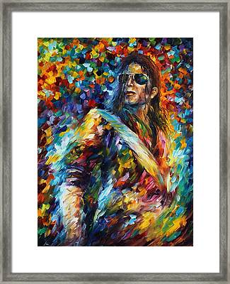 Michael Jackson - Palette Knife Oil Painting On Canvas By Leonid Afremov Framed Print by Leonid Afremov