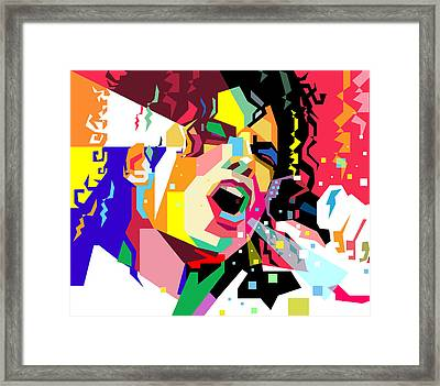 Michael Jackson Singing On Wpap Framed Print
