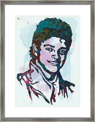 Michael Jackson Stylised Pop Art Poster Framed Print by Kim Wang