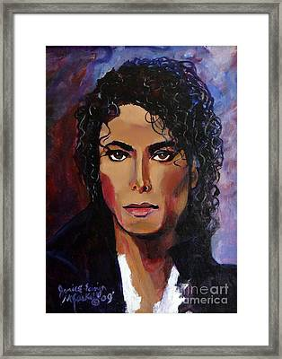 Framed Print featuring the painting Michael Jackson Timeless Memory by Ecinja Art Works