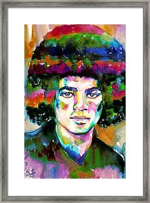 Michael Jackson - Watercolor Portrait.11 Framed Print