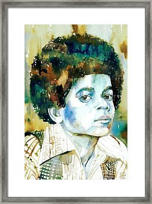 Michael Jackson - Watercolor Portrait.12 Framed Print