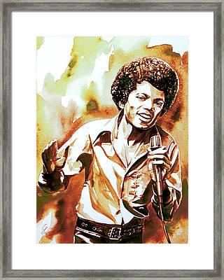 Michael Jackson - Watercolor Portrait.18 Framed Print