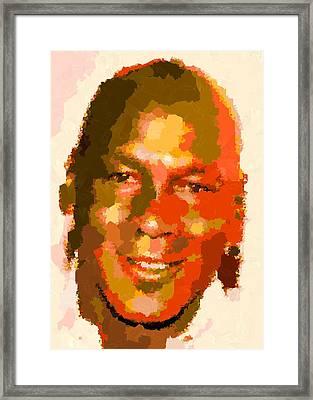 Michael Jordan - Abstract Framed Print by Samuel Majcen