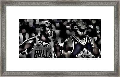 Michael Jordan And Carl Malone Framed Print by Brian Reaves