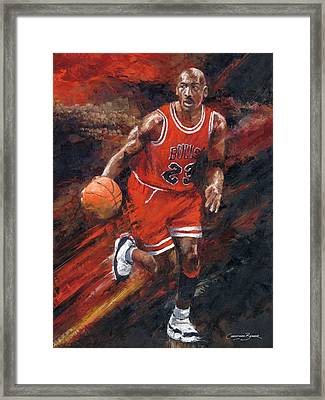 Michael Jordan Chicago Bulls Basketball Legend Framed Print