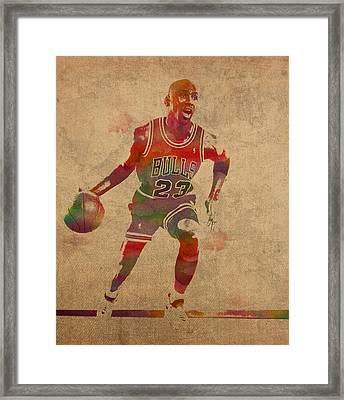 Michael Jordan Chicago Bulls Vintage Basketball Player Watercolor Portrait On Worn Distressed Canvas Framed Print by Design Turnpike