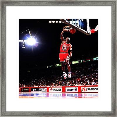 Michael Jordan Fast Break Framed Print