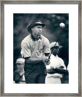 Michael Jordan Looks At Golf Shot Framed Print