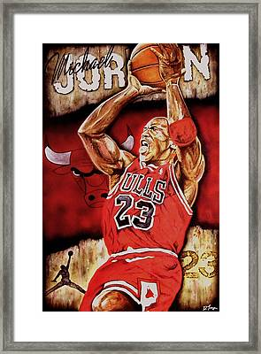 Michael Jordan Oil Painting Framed Print by Dan Troyer