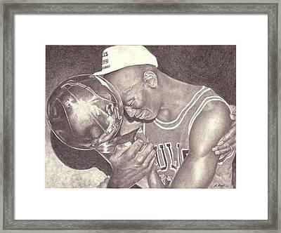Michael Jordan Portrait Drawing Framed Print by Matt Meyer