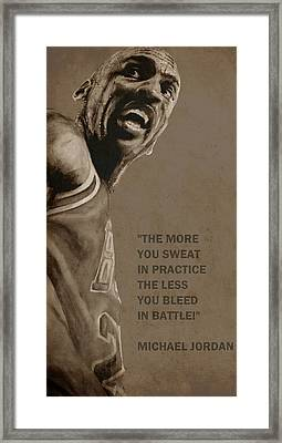 Michael Jordan - Practice Framed Print by Richard Tito