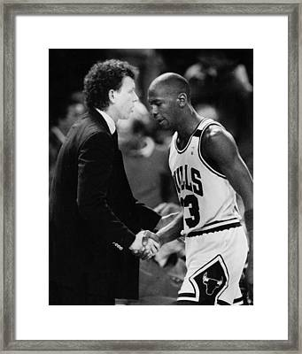 Michael Jordan Talks With Coach Framed Print