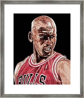 Michael Jordan The Intimidator Framed Print by Israel Torres