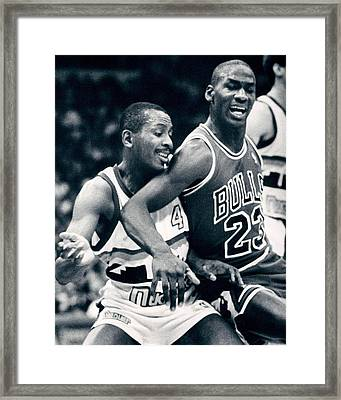 Michael Jordan Trying To Get Position Framed Print