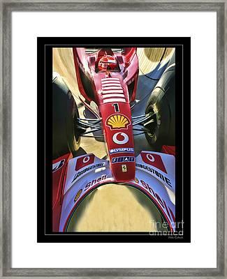 Michael Schumacher Fish Eye Framed Print by Blake Richards