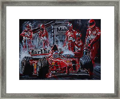 Michael Schumacher Out Of The Darkness Framed Print by Juan Mendez