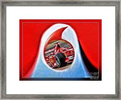Michael Schumacher Though The Logo Framed Print by Blake Richards