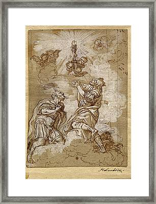 Michael Wenzel Halbax, Two Soldier Saints Adoring The Host Framed Print