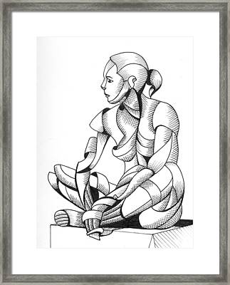 Michaela 24-3 - Abstract Nude Figurative Pen And Ink Drawing Framed Print