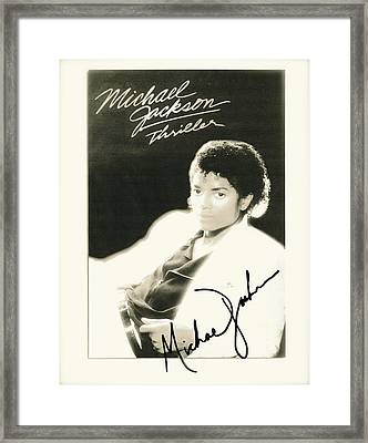 Micheal Jackson Signed Thriller Poster Framed Print by Desiderata Gallery