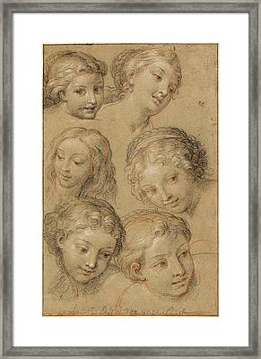 Michel Corneille, Studies Of Womens Heads Framed Print by Litz Collection