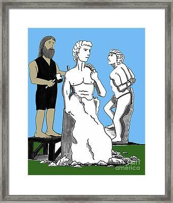 Michelangelo Carving David Framed Print