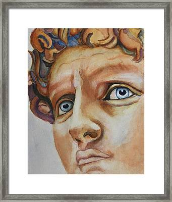 Michelangelo's David In Color Framed Print
