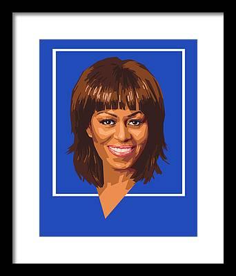 Michelle Obama Digital Art Framed Prints