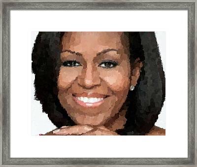 Michelle Obama Framed Print by Samuel Majcen