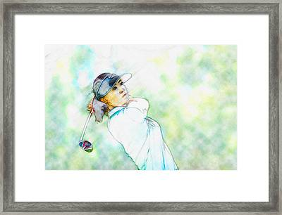 Michelle Wie Hits Her Tee Shot On The Sixth Hole Framed Print by Don Kuing