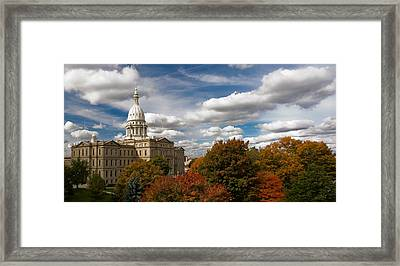 Framed Print featuring the photograph Michgan Capitol - Autumn by Larry Carr