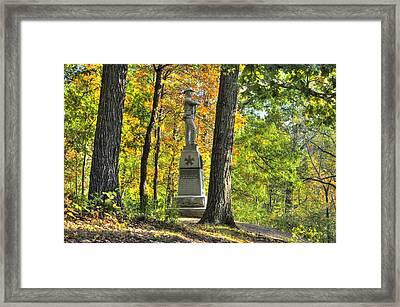 Michigan At Gettysburg - 24th Michigan Volunteer Infantry-1a Iron Brigade Near Willoughby Run Framed Print by Michael Mazaika