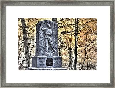 Michigan At Gettysburg - 5th Michigan Infantry Sunrise And Morning Mist In The Rose Woods Framed Print by Michael Mazaika