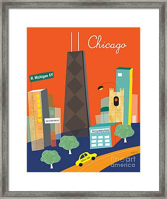 Michigan Ave. Framed Print by Karen Young