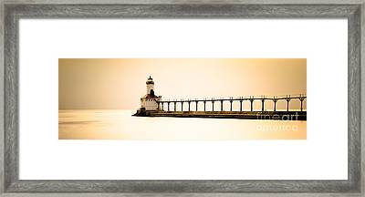 Michigan City Lighthouse At Sunset Panorama Picture Framed Print
