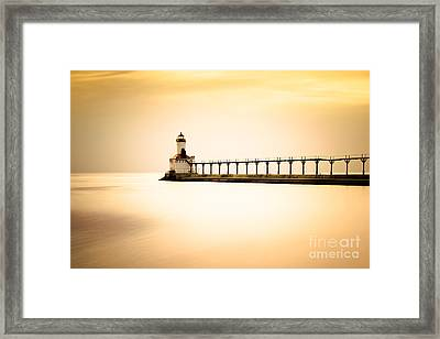 Michigan City Lighthouse At Sunset Picture Framed Print