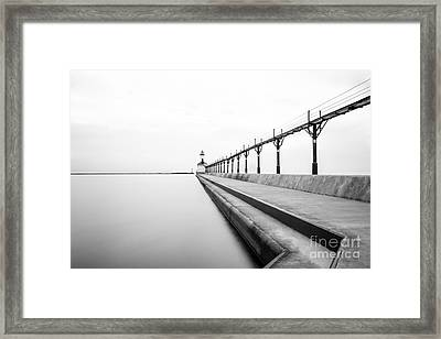 Michigan City Lighthouse Black And White Photo Framed Print