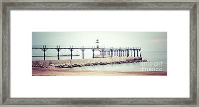 Michigan City Lighthouse Retro Panorama Photo Framed Print