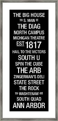 Michigan College Town Wall Art Framed Print