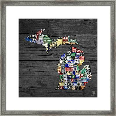 Michigan Counties State License Plate Map On Gray Wood Framed Print