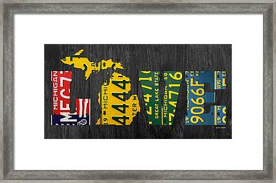 Michigan Love Recycled Vintage License Plate Art State Shape Lettering Phrase Framed Print