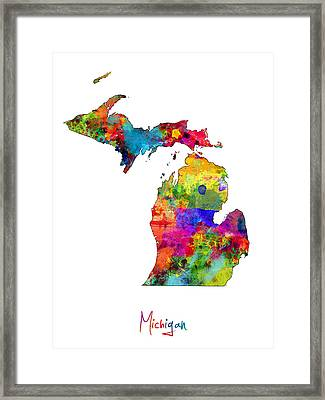 Michigan Map Framed Print by Michael Tompsett